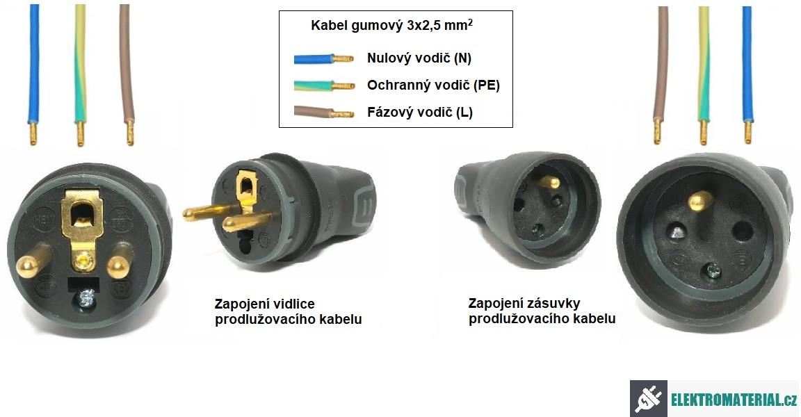 Zapojení prodlužovacího kabelu