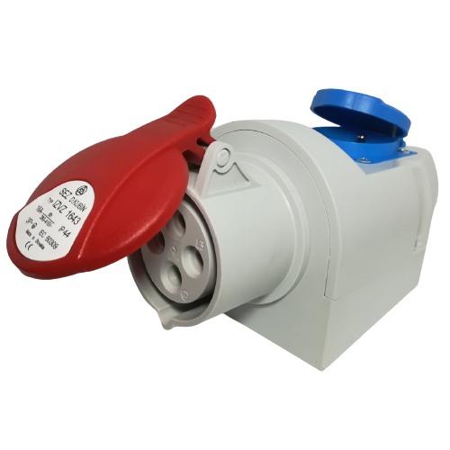 Nástěnná zásuvka 16A/4p kombinovaná se zásuvkou 230V IZVZ 1643, 400V, IP44, 16A, 4-pól (SEZ IZVZ 1643)