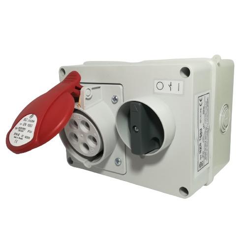 Blokovaná zásuvka na omítku se spínačem BZS 1653 400V, IP44, 16A, 5-pól (SEZ BZS 1653)