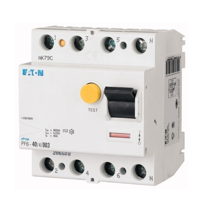 Proudový chránič EATON 286504 PF6-25/4/0,03 na DIN lištu (Eaton PF6-25/4/003)