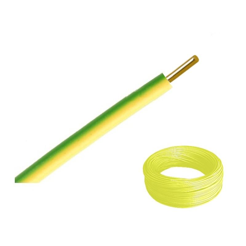 Vodič H07V-U 10 žlutozelená (CY 10) balení 100 m (Draka kabely CY 10 zeleno žlutý H07V-U ZŽ)